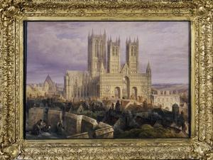Lincoln Cathedral from the North West, Lincolnshire, England, 19th Century by Frederick Mackenzie