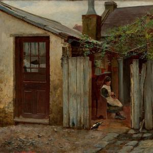 Girl With Bird At the King Street Bakery by Frederick McCubbin