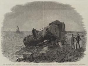 The Recent Railway Accident at Granton, Near Edinburgh, the Engine on the Beach by Frederick Morgan