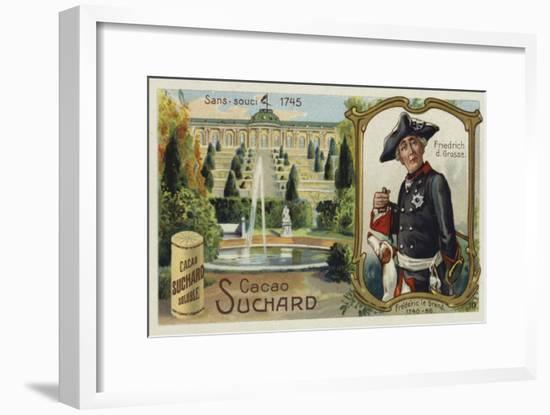 Frederick the Great, King of Prussia, and the Palace of Sanssouci, Potsdam-European School-Framed Giclee Print
