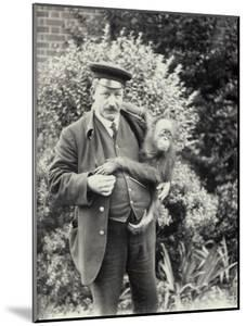 Keeper Z. Rodwell Holding Young Orangutan at London Zoo, October 1913 by Frederick William Bond