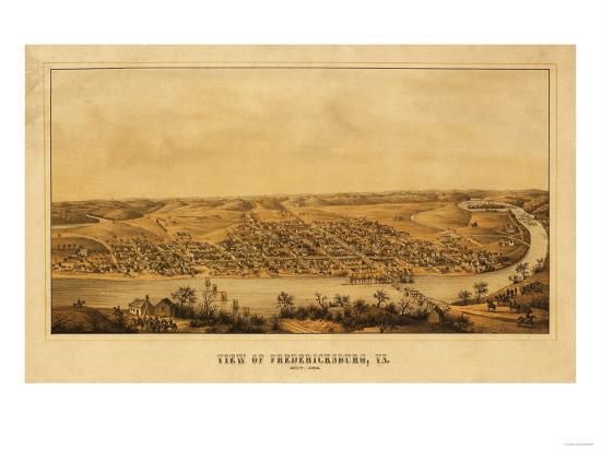 Fredericksburg, Virginia - Panoramic Map-Lantern Press-Art Print