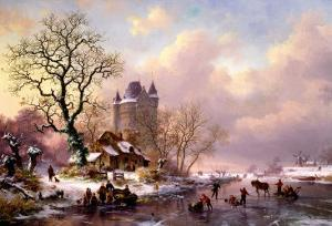 Winter Landscape with a Castle by Frederik Marianus Kruseman
