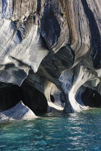 Chile, Aysen, Puerto Rio Tranquilo, Marble Chapel Natural Sanctuary. Limestone formations. by Fredrik Norrsell