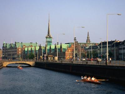 Fredriksholm Canal with the Borsen Building (Stockmarket) in Background, Copenhagen, Denmark-Anders Blomqvist-Photographic Print