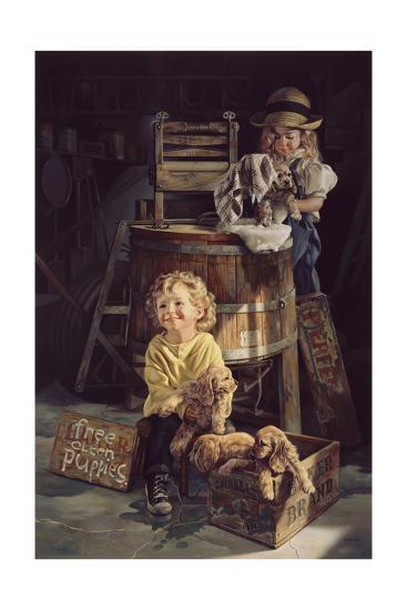 Free Clean Puppies-Bob Byerley-Giclee Print