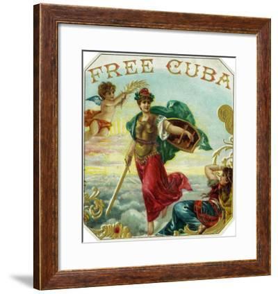 Free Cuba Brand Cigar Box Label-Lantern Press-Framed Art Print