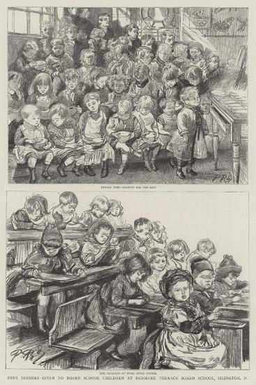 Free Dinners Given to Board School Children at Denmark Terrace Board School, Islington, N-Charles Paul Renouard-Giclee Print