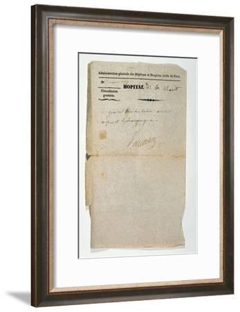 Free Prescription from the Hopital de la Charite, Paris, 7th March 1837--Framed Giclee Print