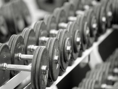 Free Weights in Rack-Bob Winsett-Photographic Print