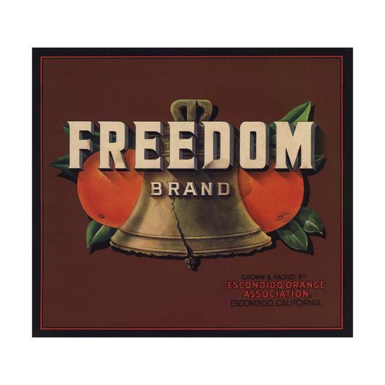 Freedom Brand - Escondido, California - Citrus Crate Label-Lantern Press-Art Print