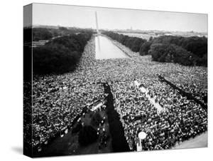 Freedom March During Civil Rights Rally, with View of Washington Memorial Monument in the Bkgrd