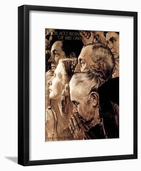 """Freedom of Worship"", February 27,1943-Norman Rockwell-Framed Giclee Print"