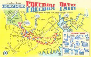 Freedom Path, Map of Historic Boston, Mass.