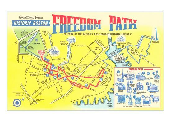 Boston Map Historical Sites.Freedom Path Map Of Historic Boston Mass Art Print By Art Com