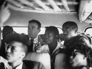 Freedom Riders on a Bus Making a Test Trip into Mississippi