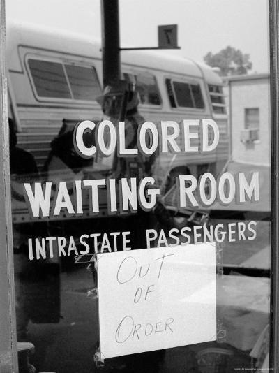 """Freedom Riders: """"Out of Order"""" Sign Pasted to Window for Segregated Waiting Room-Paul Schutzer-Photographic Print"""