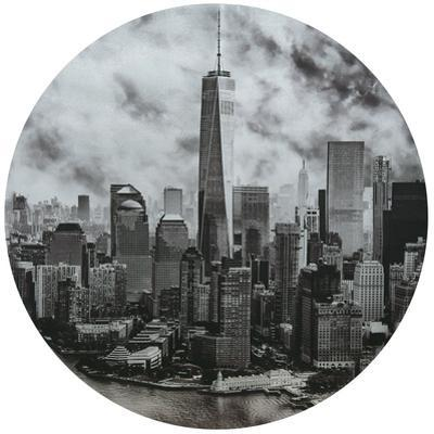 Freedom Tower - Circular Silver Canvas Giclee Printed on 2 - Wood Stretcher Wall Art