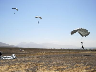Freefall Parachute Jumpers Approaching the Trident Drop Zone in San Diego--Photographic Print