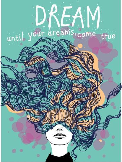 Freehand Vector Drawing - Dreaming Girl with Decorative Hair-A Frants-Art Print