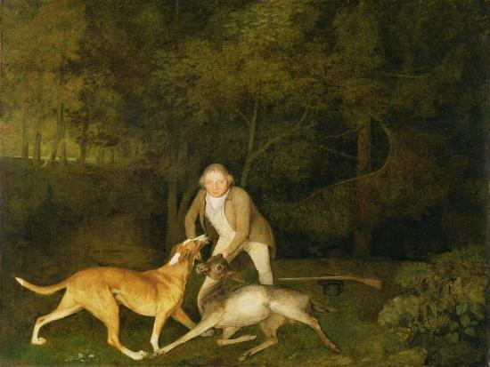 Freeman, the Earl of Clarendon's Gamekeeper, with a Dying Doe and Hound, 1800-George Stubbs-Giclee Print