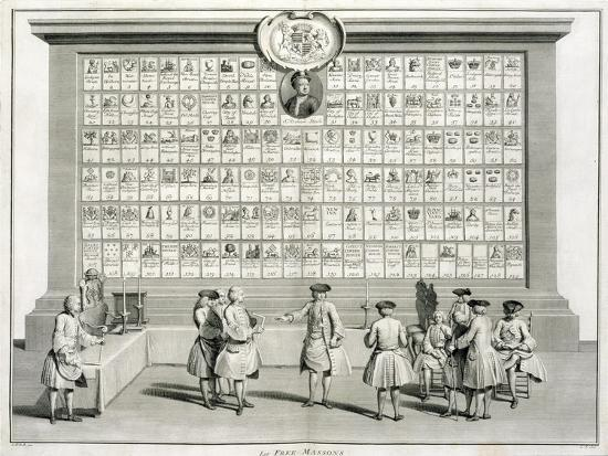 Freemasons, with signs for the various lodges, c1733-Unknown-Giclee Print