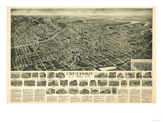Freeport, New York - Panoramic Map-Lantern Press-Art Print