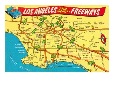 photo regarding Printable Maps of Los Angeles named Highway Map, Los Angeles, California Artwork Print through