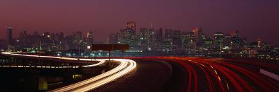 Freeway with the City in the Background, San Francisco, California, USA-Thomas Winz-Photographic Print