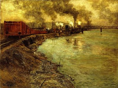 Freight Train, Dusk-Fritz Thaulow-Giclee Print