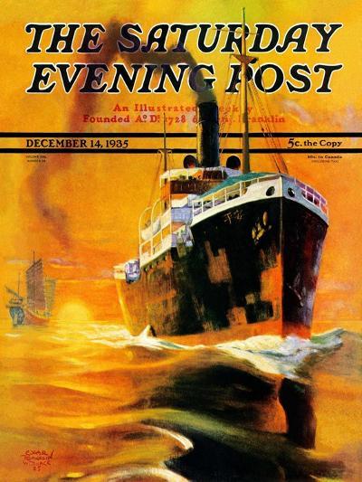 """Freighter,"" Saturday Evening Post Cover, December 14, 1935-Edgar Franklin Wittmack-Giclee Print"