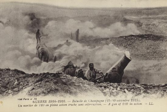 French 220 Mm Mortar in Action, Second Battle of Champagne, World War I, September 1915--Photographic Print