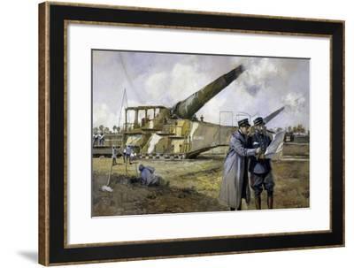 French 400Mm Railroad Gun, Painting, World War I, France--Framed Giclee Print