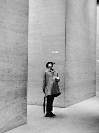 French Actor Jacques Tati Looking at the High Ceiling of an Office Lobby-Yale Joel-Premium Photographic Print