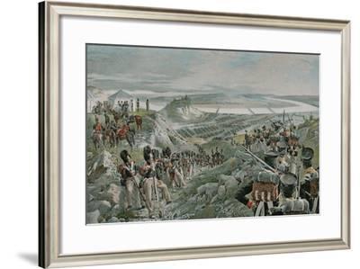 French Army Crossing the Niemen-Felicien Baron De Myrbach-rheinfeld-Framed Giclee Print
