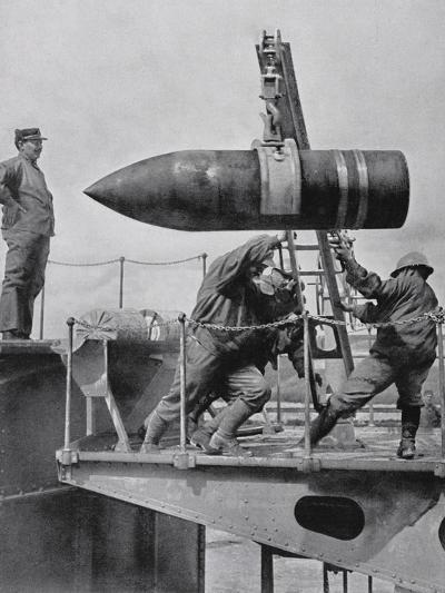 French Army Hoisting Giant Gun Shells, C.1916--Photographic Print