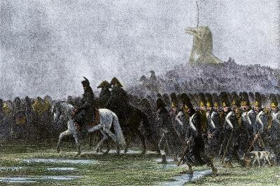 French Army Marching Through Poland in the Rain, Napoleonic Wars--Giclee Print