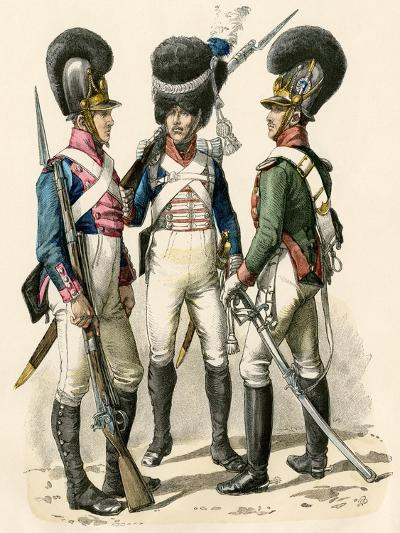 French Army Uniforms: Infantry 1814-1825, Grenadier 1812-1815, and Cavalry 1805-1812--Giclee Print