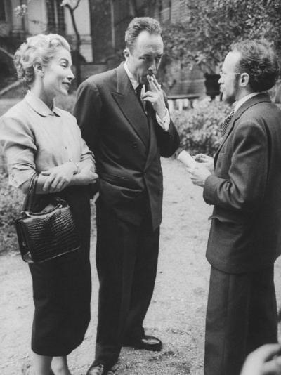 French Author, Albert Camus and His Wife after He Has Won a Nobel Prize for His Writing-Loomis Dean-Photographic Print
