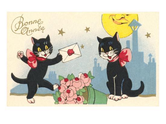 French Black Cats, Bonne Annee--Art Print