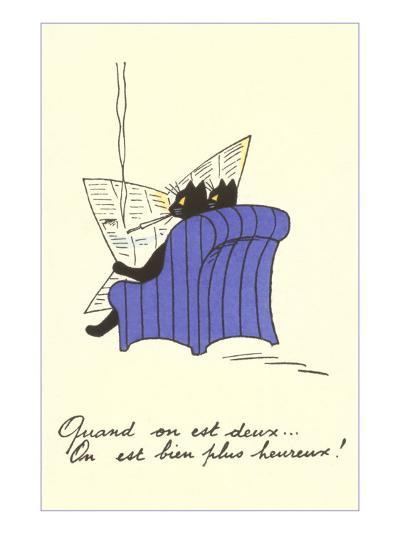 French Black Cats Reading Newspaper--Art Print