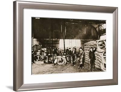French Boys as War-Workers: Young Hands in a Barbed-Wire Factory: the First Stage of the Process--Framed Photographic Print