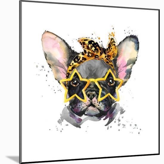 French Bulldog. Cute Puppy Dog. Watercolor Puppy Dog Illustration. French Bulldog Breed. Unusual Il-Fayankova Alena-Mounted Premium Giclee Print