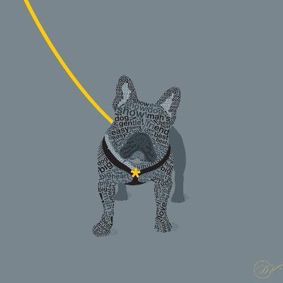French Bulldog on Grey-Dominique Vari-Art Print