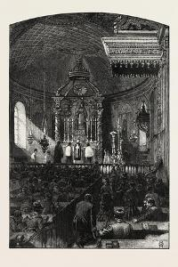 French Canadian Life, Interior of Parish Church, Canada, Nineteenth Century