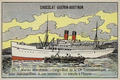 French Cargo Ship of the Compagnie Transatlantique--Giclee Print