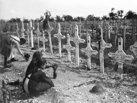 French Children Tending Graves at Adelaide Cemetery of Australians Killed in Battle on the Western--Photographic Print