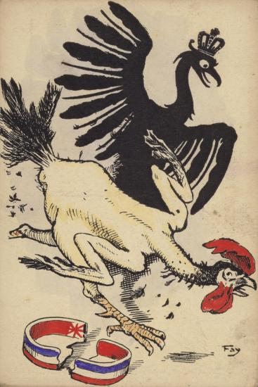 French Cockerel Fleeing from the German Eagle--Giclee Print