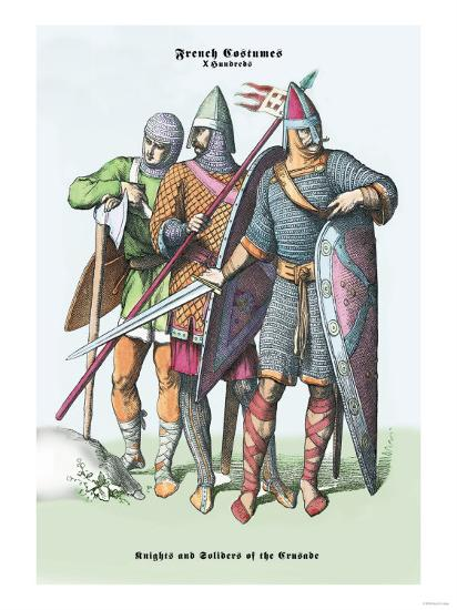 French Costumes: Knights and Soldiers of the Crusades--Art Print