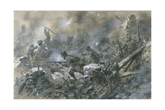 French Counter Attack At Village Of Vaux Near Verdun 1916 Giclee